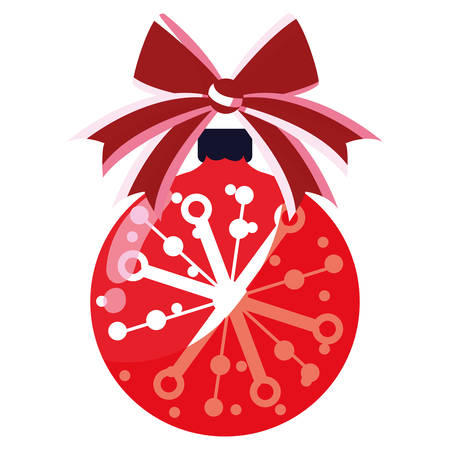 Christmas ball with decorative bow over white background, vector illustration