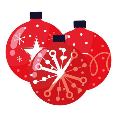 Christmas balls over white background, vector illustration