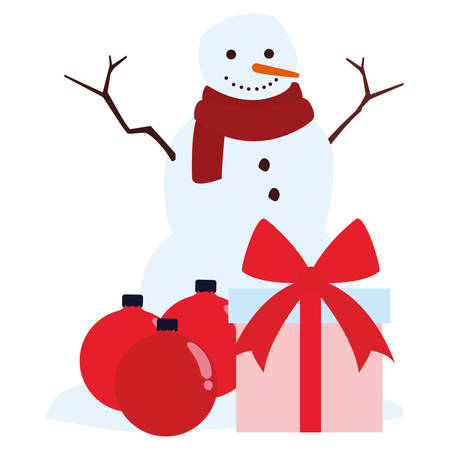 Cartoon snowman with gift box and christmas balls over white background, vector illustration Illustration