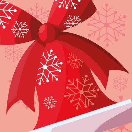 Christmas bell with decorative bow over red background, vector illustration