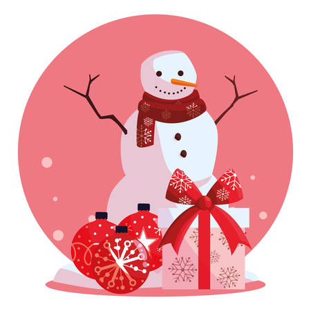 Cartoon snowman with gift box and christmas balls over white background, vector illustration