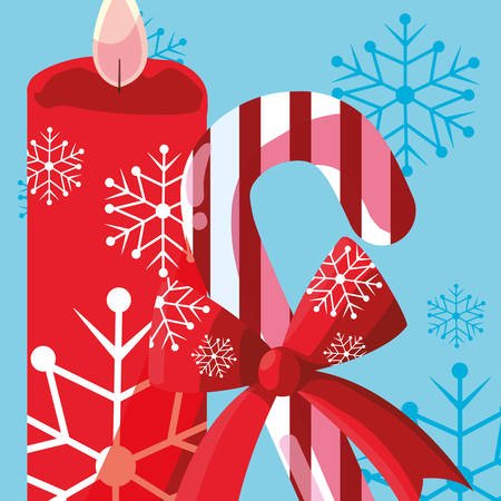 Christmas candle with candy cane over blue background, vector illustration Ilustrace