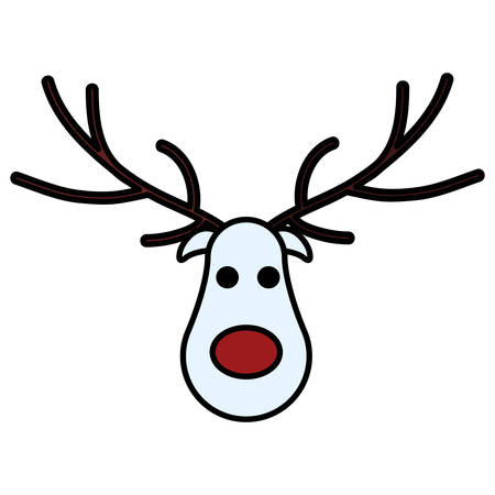 Cerf de Noël dessin animé avec nez rouge sur fond blanc, illustration vectorielle