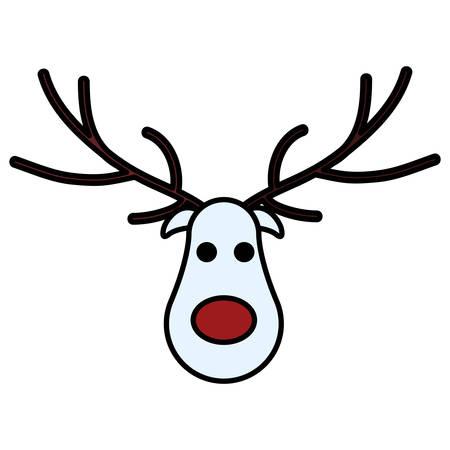 Ciervos de Navidad de dibujos animados con nariz roja sobre fondo blanco, ilustración vectorial