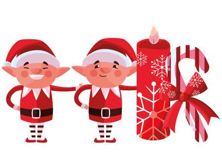 Happy Christmas elfs over white background, vector illustration Stock Illustratie