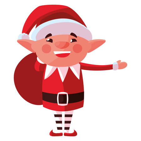 Christmas elf holding a santas sack over white background, vector illustration Vettoriali