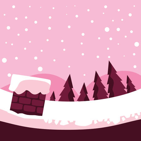 Chimney and pine trees over pink background, vector illustration