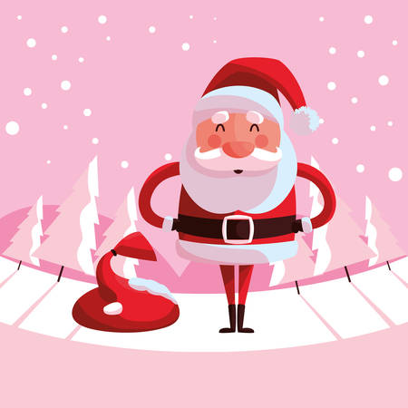 Cartoon santa claus holding a bag over pink background, vector illustration
