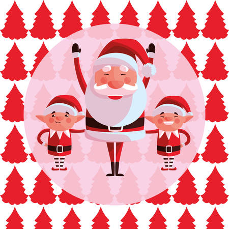 Santa claus and elfs  over colorful background, vector illustration Stock Illustratie