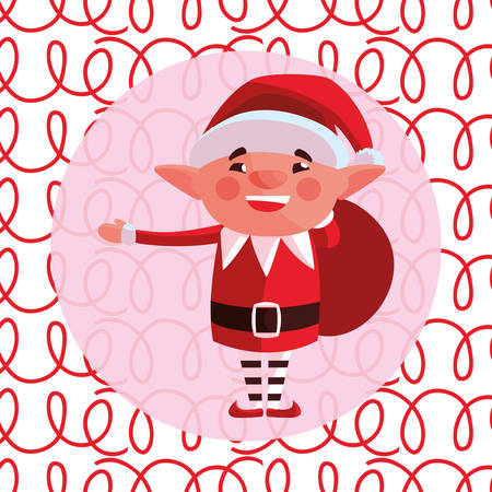 Christmas elf over colorful background, vector illustration