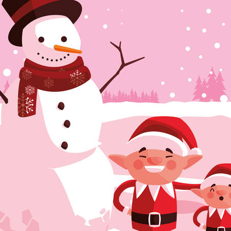 Christmas elf and snowman over pink background, vector illustration
