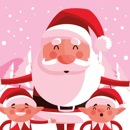 happy Santa claus and elfs  over pink background, vector illustration