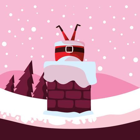 Santa claus stuck in the chimney over pink background, vector illustration Illustration
