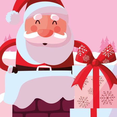 happy Santa claus and gift box over pink background, vector illustration