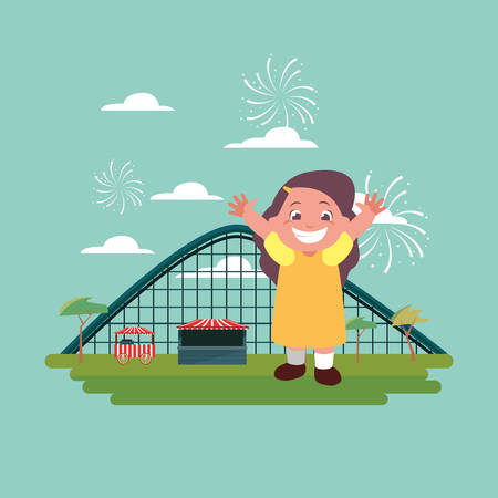happy girl carnival roller coaster vector illustration