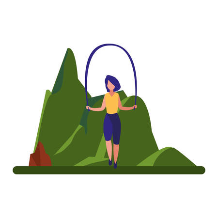 woman jumping rope near tree vector illustration