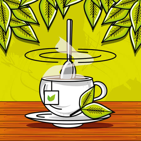 cup with tea hot herbs vector illustration design