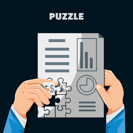hands with puzzle pieces in shape statistical report vector illustration design
