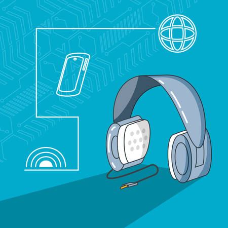 headphone device with set icons vector illustration design