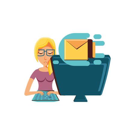 woman with desktop computer and envelope mail vector illustration design Illustration