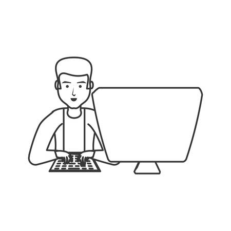 man with desktop computer isolated icon vector illustration design