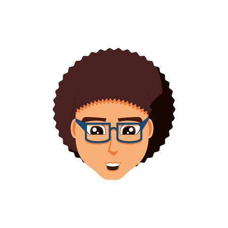 head of young man with eyeglasses vector illustration design 일러스트