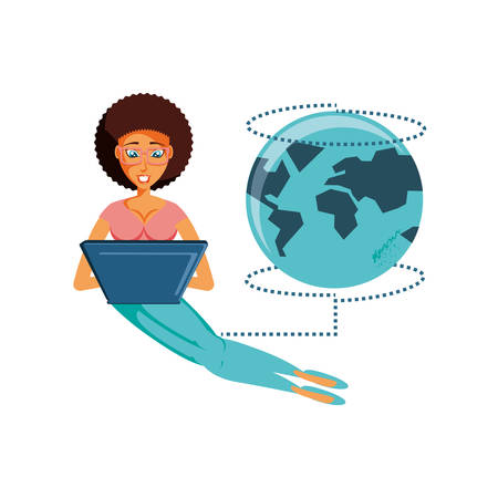 woman sitting with laptop and planet earth vector illustration design
