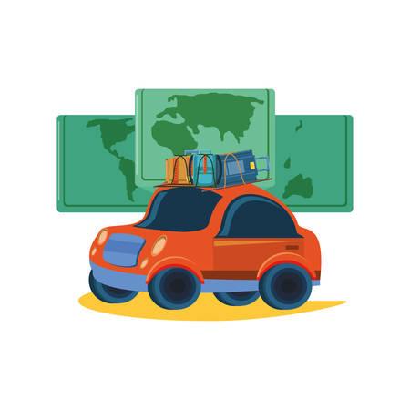 tourism little car with world map vector illustration design Иллюстрация