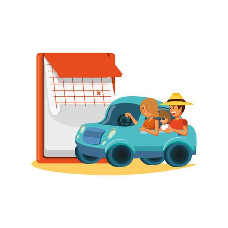 couple driving tourism little car with calendar vector illustration design