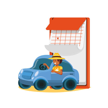 man driving tourism little car with calendar vector illustration design