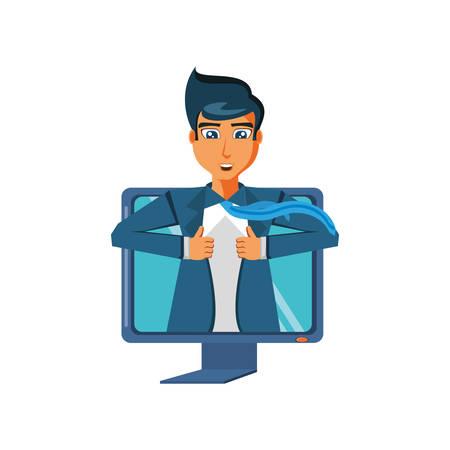 businessman unbuttoning his shirt in computer vector illustration design