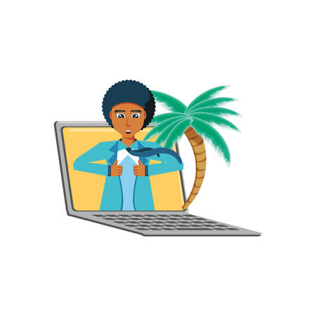 businessman unbuttoning his shirt in laptop with palms vector illustration