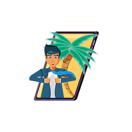 businessman unbuttoning his shirt in smartphone with palms vector design