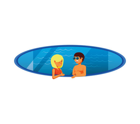 young couple in pool luxury scene vector illustration design