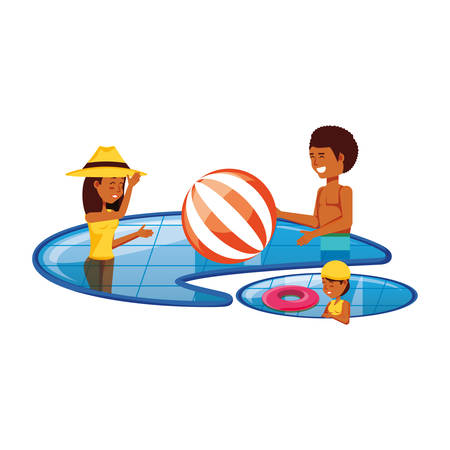 family in pool luxury scene vector illustration design