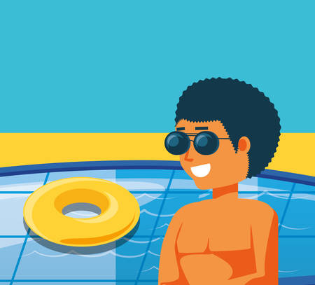 young man in pool luxury scene vector illustration design Illustration