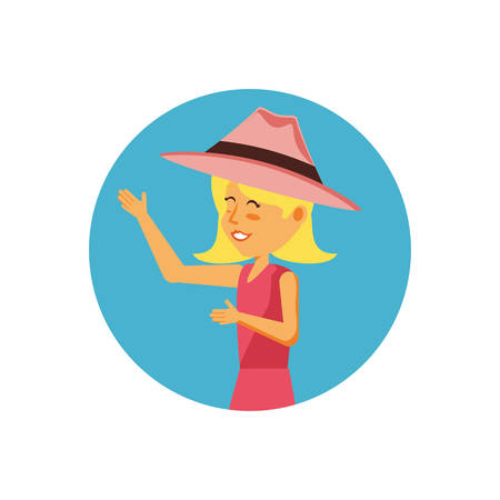 woman tourist with hat avatar character vector illustration design