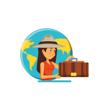woman tourist with hat and world planet vector illustration design