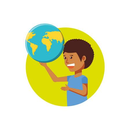 tourist man with world planet vector illustration design