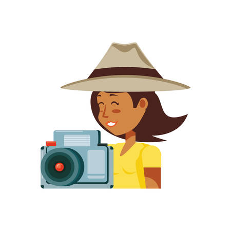 woman tourist with hat and camera photographic vector illustration design