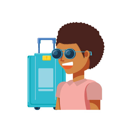 tourist man with suitcase avatar character vector illustration design
