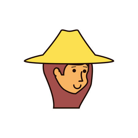 head of woman tourist with hat avatar character vector illustration design