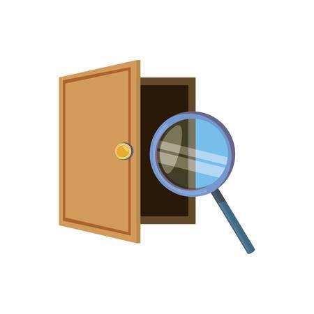 wooden door open with magnifying glass vector illustration design 向量圖像