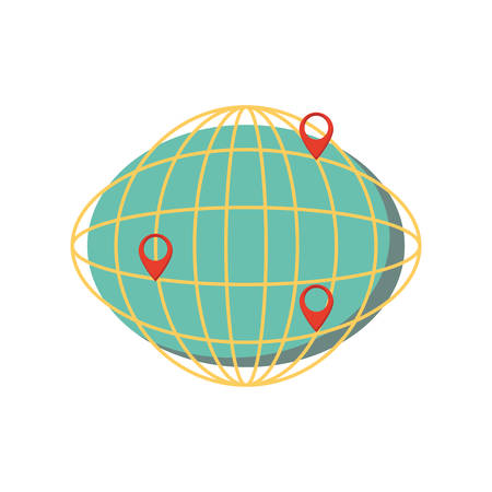 sphere planet with pins location vector illustration design
