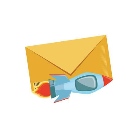 rocket launcher with envelope mail vector illustration design