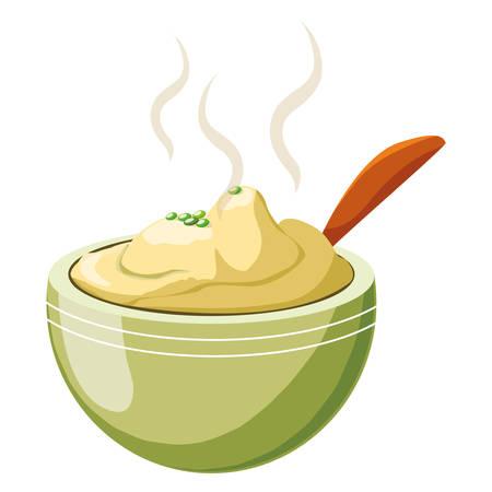 mashed potatoes over white background, colorful design, vector illustration