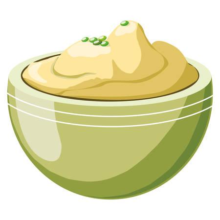 mashed potatoes over white background, colorful design, vector illustration