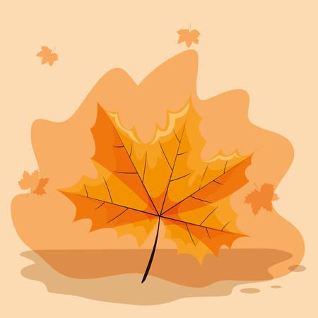 dry leaf icon over orange background, colorful design, vector illustration