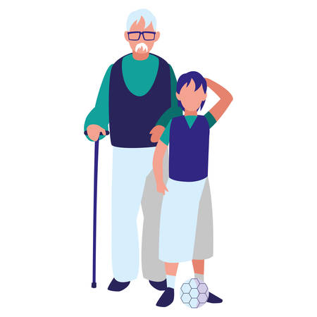 Old man with his family over white background, colorful design. vector illustration