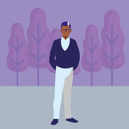 Old man icon over landscape background, vector illustration